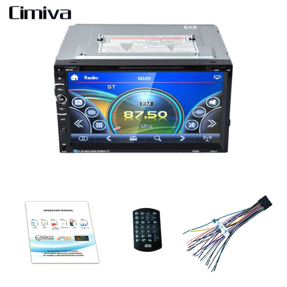 Cimiva 7inch TFT 2Din 800 * 480 Car Radio Universal  DVD Car Audio Car Stereo Auto USB Bluetooth Radio FM free shipping car refitting dvd frame dvd panel dash kit fascia radio frame audio frame for 2012 kia k3 2din chinese ca1016