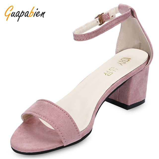 e290f4083fb Guapabien 2017 Fashion Trendy Open Toe Ankle Strap Buckle Square Low Heel  Shoes For Women Suede High Heel Shoes For Office Lady