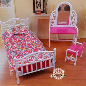Accesorios muebles para muñecas Barbie, dormitorio, cama, tocador, silla, mesa de comedor, cocina, armario, juguete para regalo DIY para chica