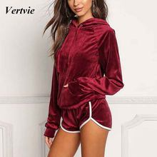 vertvie 2 Piece set Running Set Women Sexy Sport Sweaters With Hoodies High Waist Running Shorts Jogging Female Tracksuits Slim(China)