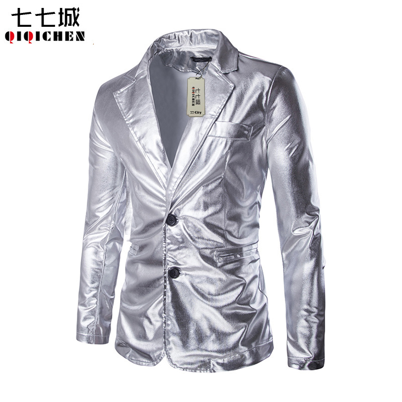 Silver Mens Blazers Men Nightclub Costume Fashion Casual Slim Fit Stage Costumes Mens Suit Jacket Blazer