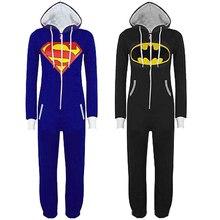 Free Shipping Unisex Pyjamas Adult Pajamas Onesie Mens women Batman Superman one piece pajamas Sleepsuit Sleepwear