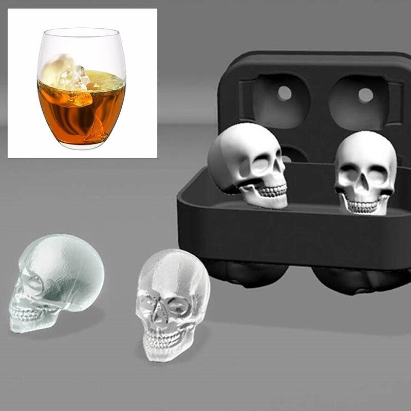 Novità 3D della Testa Del Cranio del Cubo di Ghiaccio Della Muffa Halloween Casa Bar Biscotto Torta Al Cioccolato Del Silicone Skull Ice Cube Vassoio Maker Stampi
