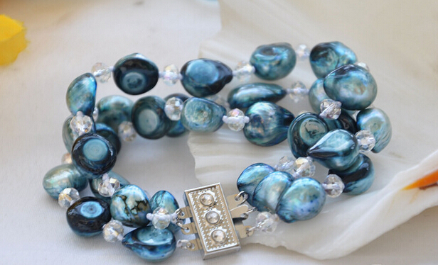 Hot sale>@@ > 01199 3row 8 blue baroque pearl faceted crystal bracelet
