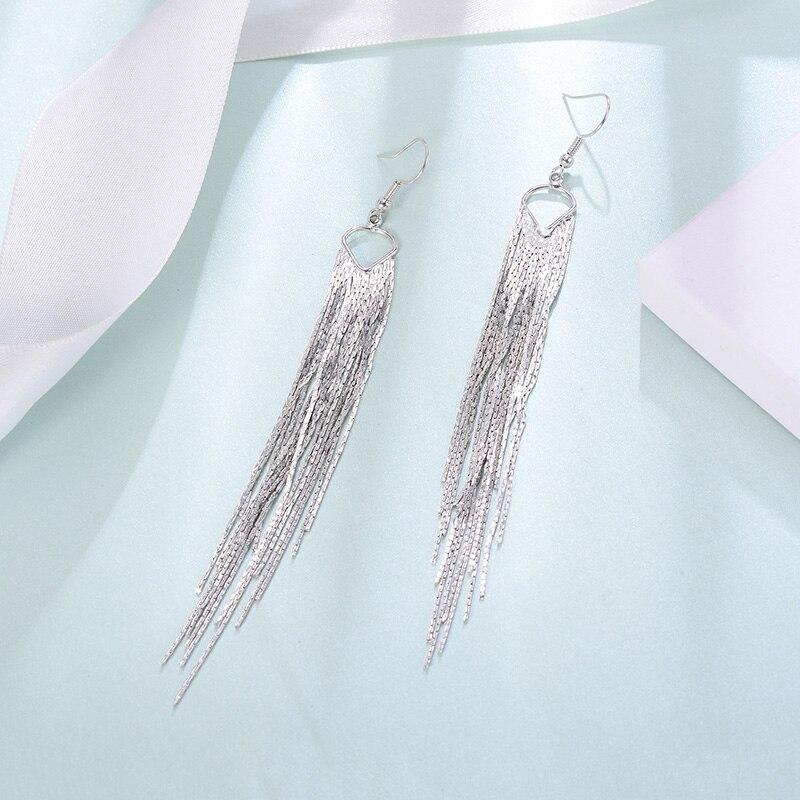 Silver Color Long Tassel Earrings Multi Layers Alloy Made Elegant Women Drop Dangler Fashion Jewelry 2019 Femme Hanging Earrings in Drop Earrings from Jewelry Accessories