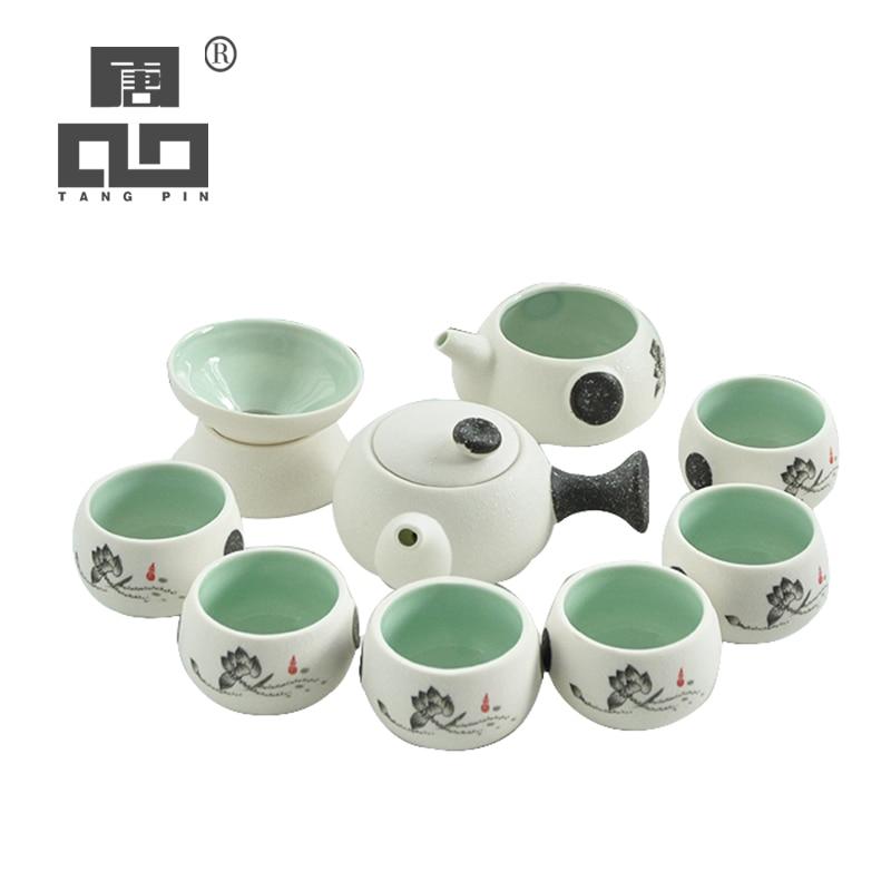 TANGPIN לבן קרמיקה קומקום תה כוס פורצלן תה סט סיני קונג פו תה סט drinkware