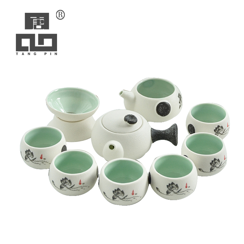 TANGPIN White Ceramic Teapot Tea Cup Porcelain Tea Set Chinese Kung Fu Tea Set Drinkware