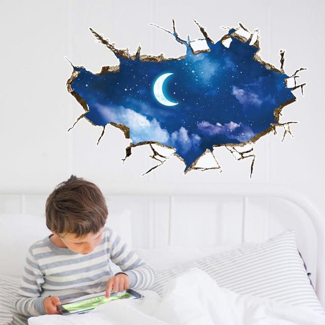 2017 new 3d sky clounds and moon wall sticker wall decor blue sky