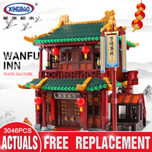 XINGBAO 01022 3046Pcs Chinese Building Series The Wanfu Inn Set Building Blocks Bricks Educational Toys Model Gift Assembled DIY 2018 xingbao 01022 3046 pcs genuine the wanfu inn set house model building blocks bricks traditional diy toys for children