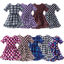 Toddler Girl Scottish plaid Dress Baby Dot Print Mini Frock Summer Clothing For Girls Ruffles Cotton Daily Casual Outfits 1-5 Y цена 2017