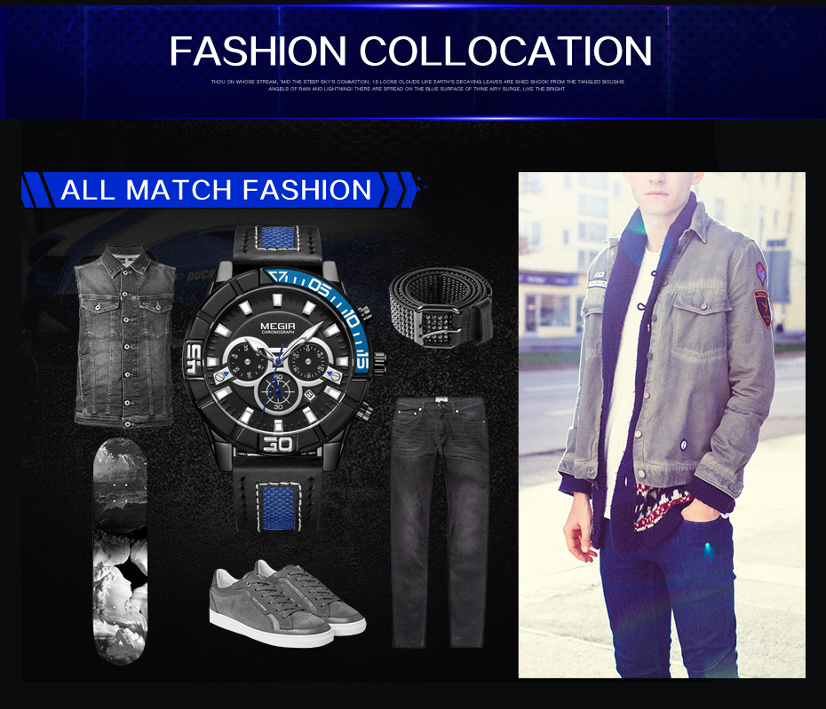 Topdudes.com - MEGIR Creative Fashion Chronograph Sports Military Wrist Quartz Watch