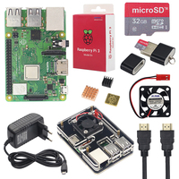 Raspberry Pi 3 Model B+ Starter Kit + 6 Layer Acrylic Case + 16 32GB SD Card + Heat Sink + Fan + 3A Power Adapter + HDMI Cable