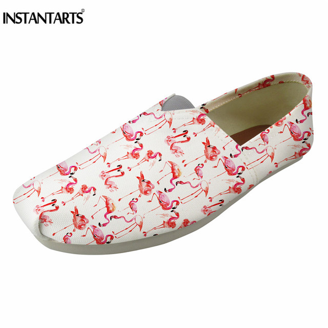INSTANTARTS Cute Flamingo Print Canvas Flat Shoes Women Casual Summer Slip  On Loafer Shoes for Girl Lady Fashion Linen Lazy Shoe 5485121aaa88