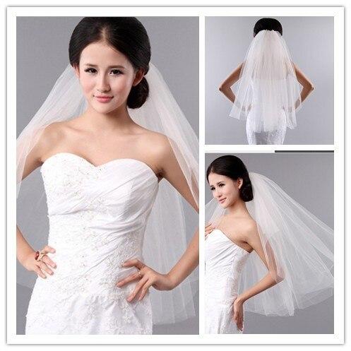 Горячие Продажи Свадебная фата Короткие для невесты Белый/Слоновая Кость Свадебные Аксессуары