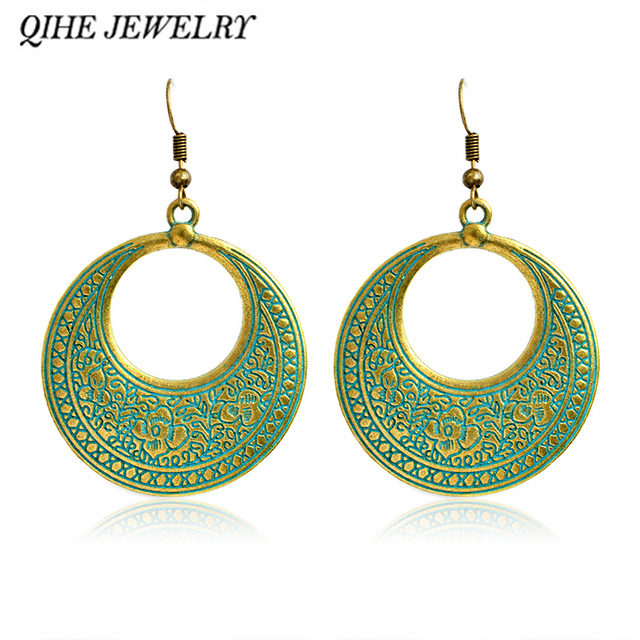 Qihe jewelry rustic open circle statement chandelier earring modern qihe jewelry rustic open circle statement chandelier earring modern fashion large chunky earrings jewelry gift aloadofball Choice Image