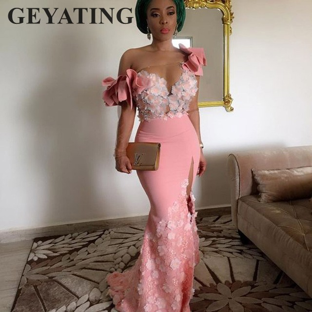 Elegant Floral African Evening Gowns Long Sleeves One Shoulder Pink Mermaid Arabic Prom Dresses Dubai Side Slit Robe De Soiree