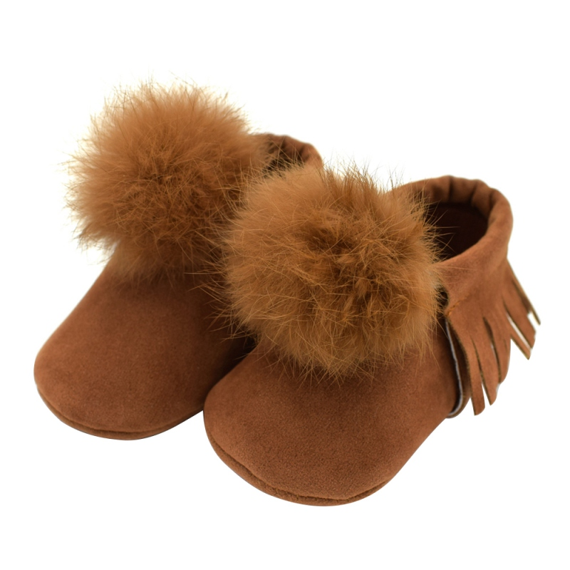Fashion Warm PU Solid Fringe Pompon Anti-slip Baby Girs Walkers Shoes Elegant Princess Shoes Chic Style A