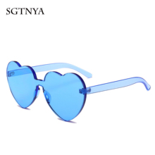 New cute heart-shaped sunglasses personality fashion rimless glasses brand designer candy color transparent