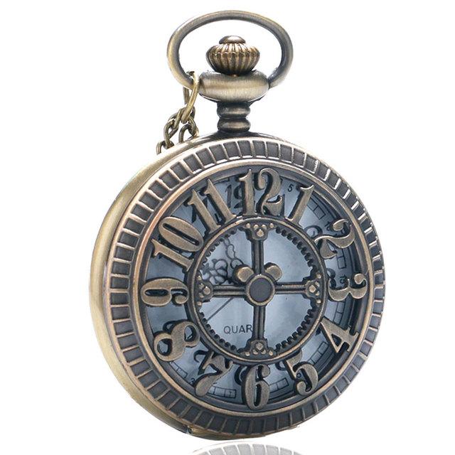 Christmas Gift Bronze Vintage Quartz Pocket Watch Hollow Cartoon Mouse Women Men Necklace Pendant Chain Reloj De Bolsillo