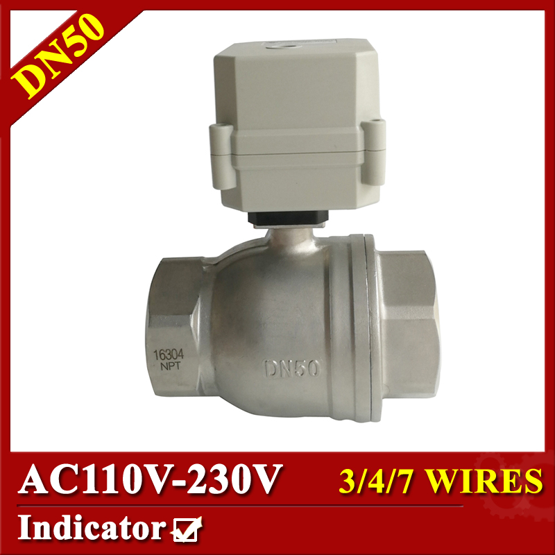 Tsai Fan Electric motorized valve AC 110V-230V DN50 2'' Actuator with stainless steel 3/4/7 wires BSP/NPT thread electric valve tsai fan motorized ball valve 2 ac110 230v 2 5 wires electric valve dn50 upvc ball valve normal close open for hvac systems