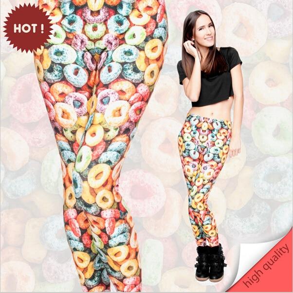 2017 Funny Basic Leggings  Women Girls 3D Colorful Loops Printed  Legging Pant