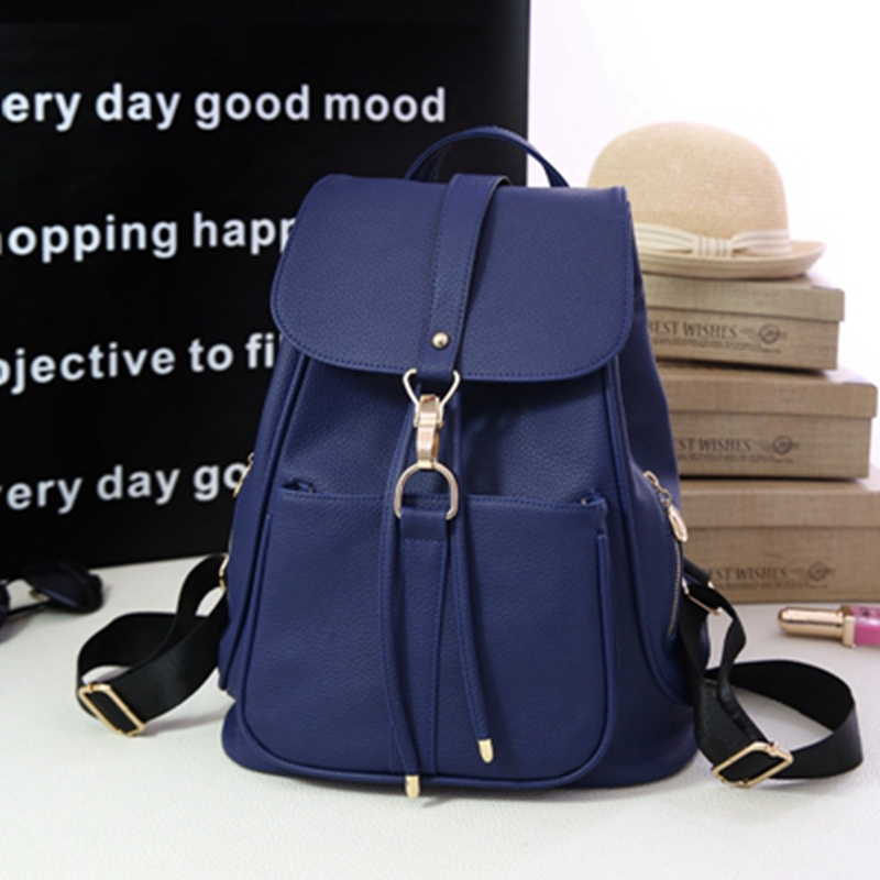 2017 Spring Summer Fashion Women Backpacks Black Lichee Pattern PU Leather Female Backpack College Teenager School Back Pack
