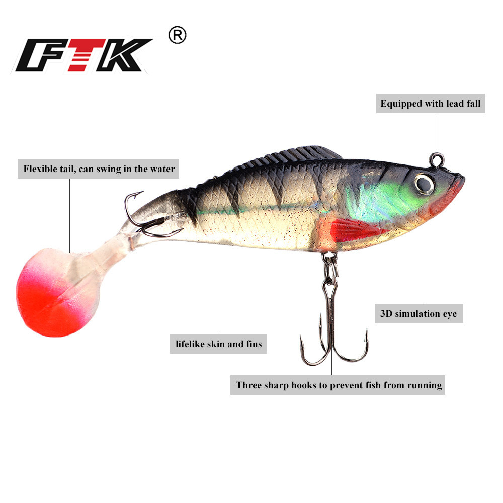 FTK Lure Soft Bait Jig Fishing Lure With Treble Hook 1pcs 8 10 12CM 10Color Lead Head3D Eyes Fish Swimbait Fishhook in Fishing Lures from Sports Entertainment