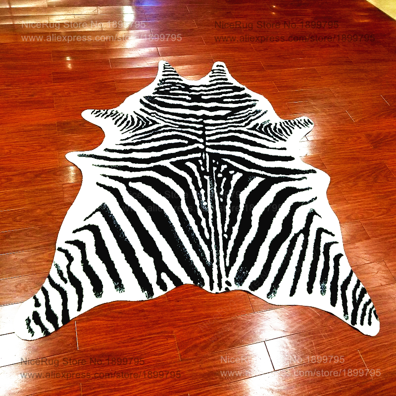 Zebra Printed Rug Animal Faux Skin Cowhide Carpet Big Size 2x1 4m