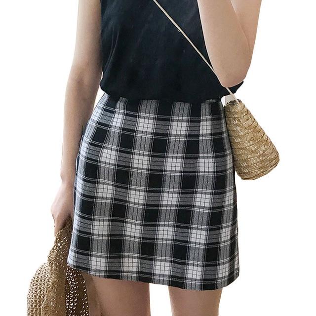 Uniforme escolar a cuadros a-line mini falda Niñas verano negro blanco  Plaid Faldas para 9a97eca33910