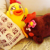 Candice Guo Newest Funny Creative Chicken Plush Toy Big Mouth Pillow Birthday Gift Yellow Brown 2pcs