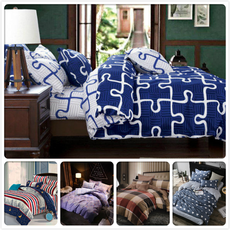 Blue White AB Side Duvet Cover Fitted Sheet Pillow Quilt Case 4pcs Bedding Set Kid Boy Single Bed Linen 1.2m 1.5m Twin Full SizeBlue White AB Side Duvet Cover Fitted Sheet Pillow Quilt Case 4pcs Bedding Set Kid Boy Single Bed Linen 1.2m 1.5m Twin Full Size