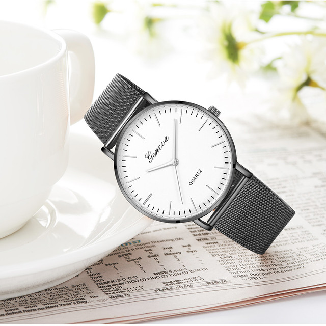 Modern Fashion Black Quartz Watch Men Women Mesh Stainless Steel Watchband High Quality Casual Wristwatch Gift for Female 2