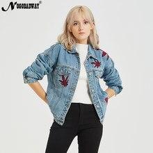 b79c565f3c Bordado Denim Jaqueta Jeans Mulheres Casaco de Outono Inverno Moda Casual  Do Vintage Senhoras Outwear 2018 bts Azul Fêmea Solta .