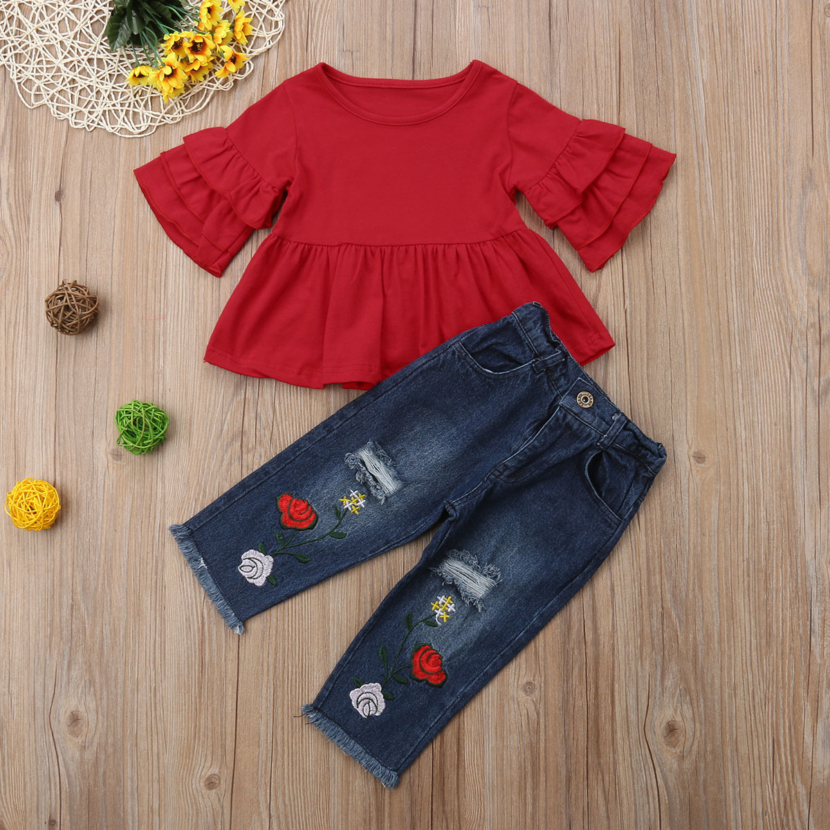 Autumn New Kid Baby Girls 2pcs Clothing Set Red Long Sleeves T shirts Tunic Floral Denim Pants Jeans Outfits 2018 Child Clothes in Clothing Sets from Mother Kids