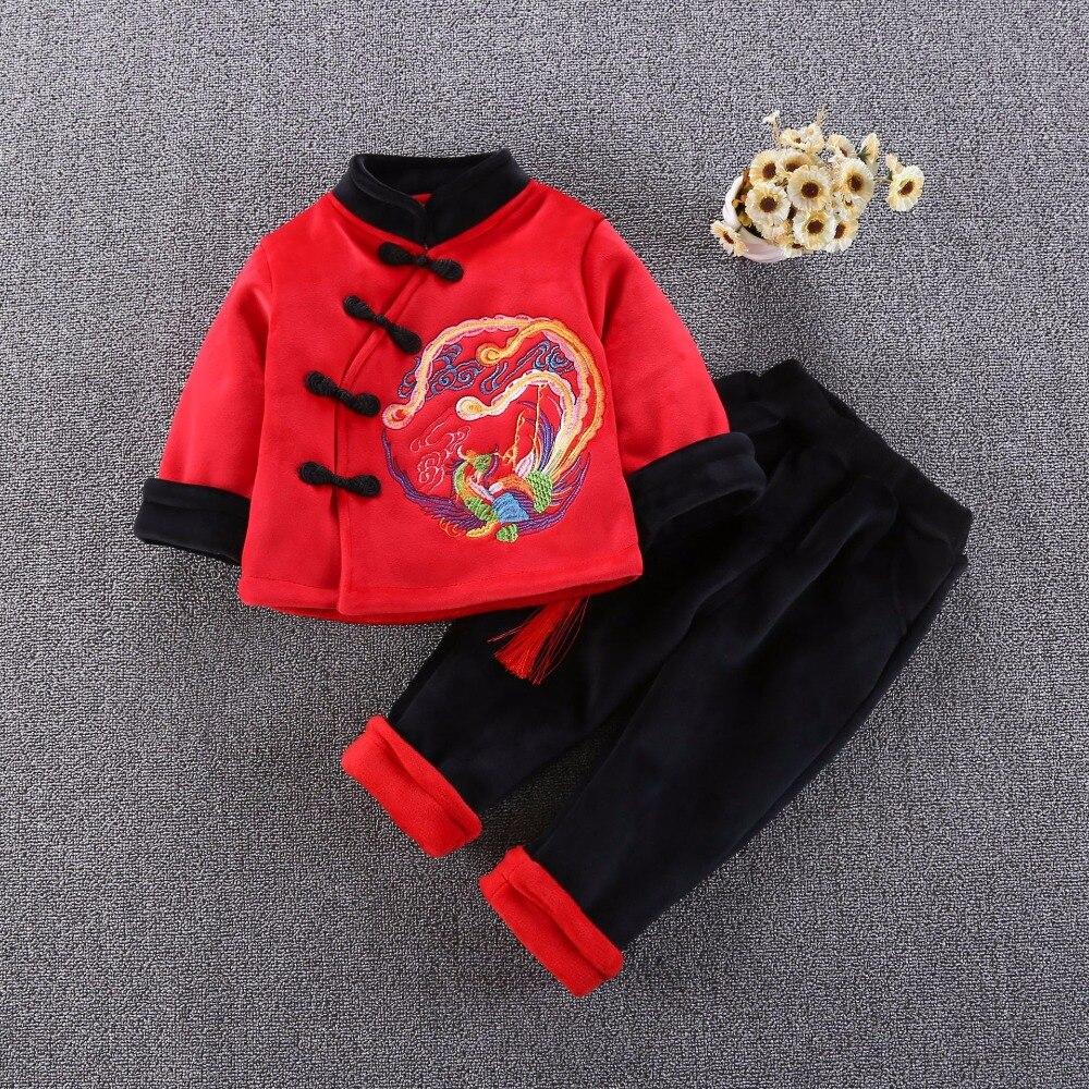 2019 hiver nouvel an enfants rouge costumes garçons garçons or velours veste pantalon ensemble haut pour enfants pantalon ensemble cadeau de noël 18N1126