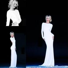 2016 Kapaklı Uzun Kollu Abiye Ekip Boyun Backless Şifon Beyaz Akşam elbise Lurelly Monaco Seksi Kolay Örgün Elbise