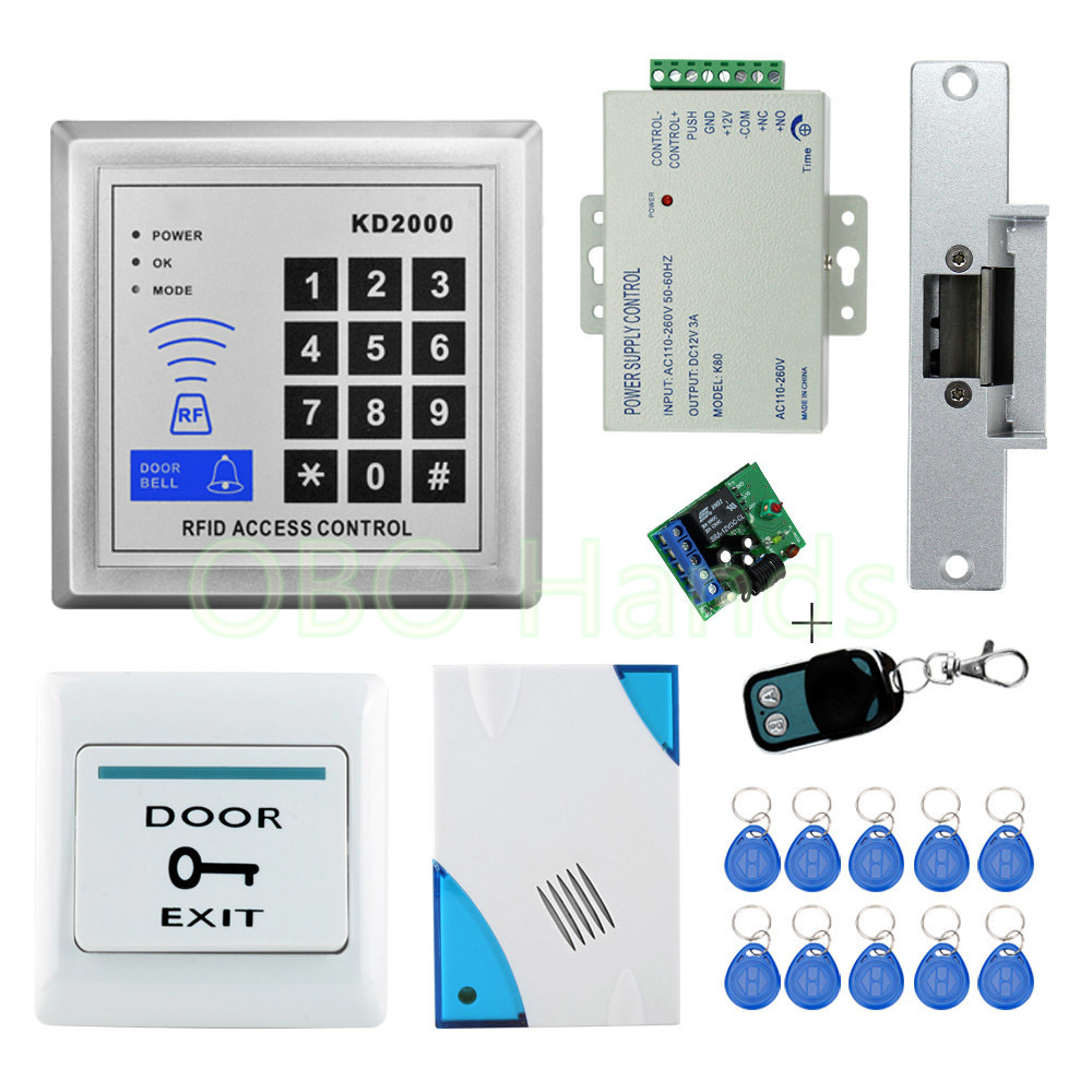 Free shipping 3000users Full Access Control System Kit Set with Electric Strike Lock+Remote control+Door bell+Power+Exit+Keypad full kit access control biometric fingerprint x6 electric strik lock power supply exit button door bell remote control key cards
