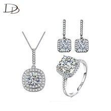 925 astilla Esterlina Cuadrados moda nupcial de la boda establece colgante aretes collar de la joyería AAA CZ diamond Bijoux femme JS005