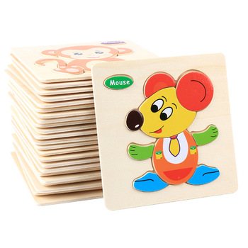 Cartoon Colorful Kids Wooden 3D Puzzles Toys Animals Picture Early Education Jigsaw Baby Intelligence Development