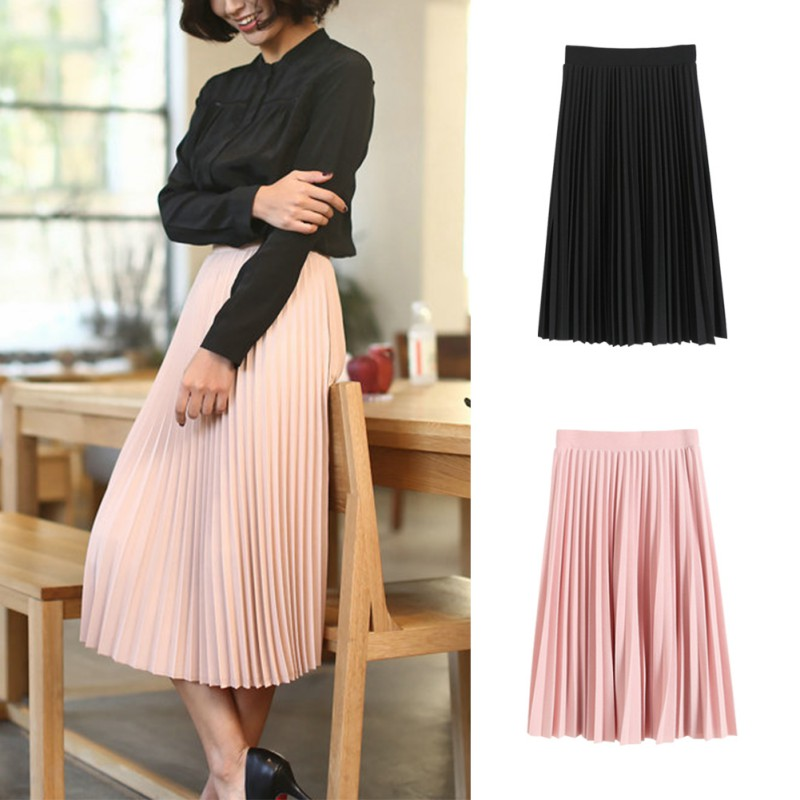 Autumn Women Black Pink All-Match Chiffon Skirt Pleated Skirts Department Summer Slim Thin Casual Lovely Fold Skirts