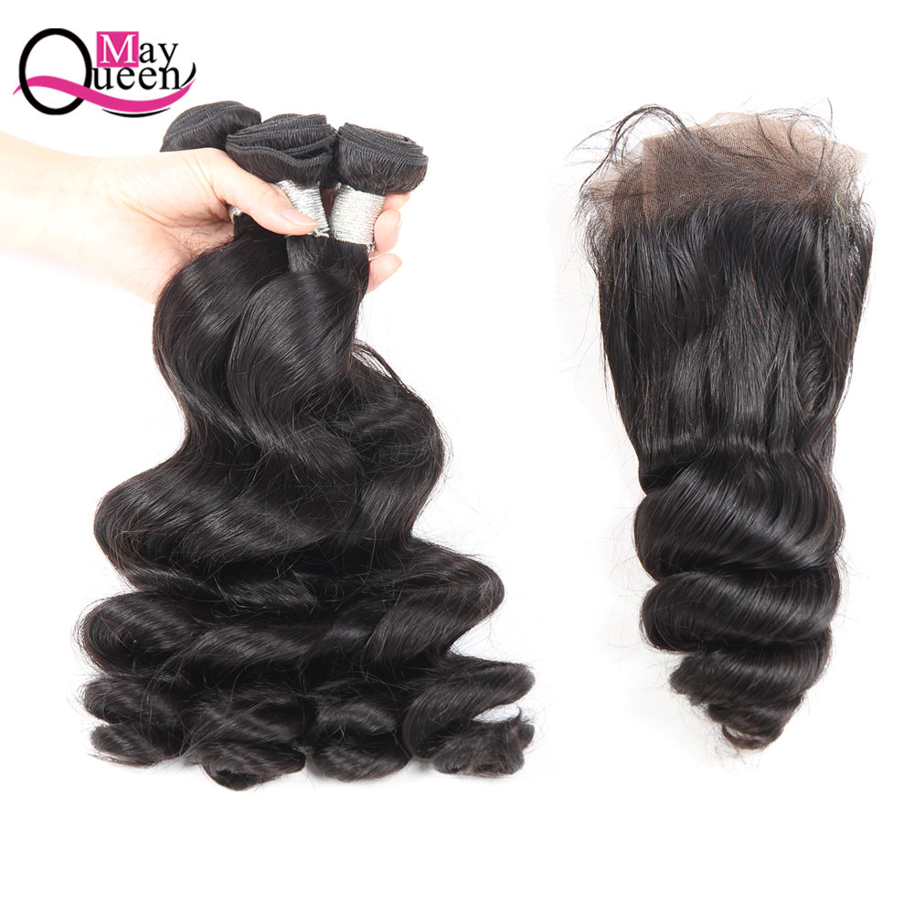 May Queen Hair Indian Loose Wave Remy Human Hair Weave 3Bundles With Lace Closure 4*4Free Part Natural Black Hair Extensions