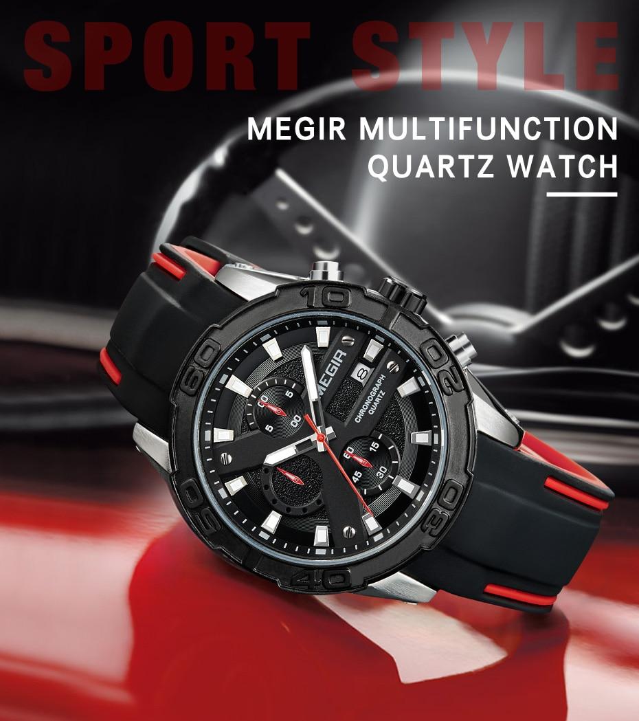 Topdudes.com - MEGIR Top Brand Fashion Quartz Chronograph Sport Watch
