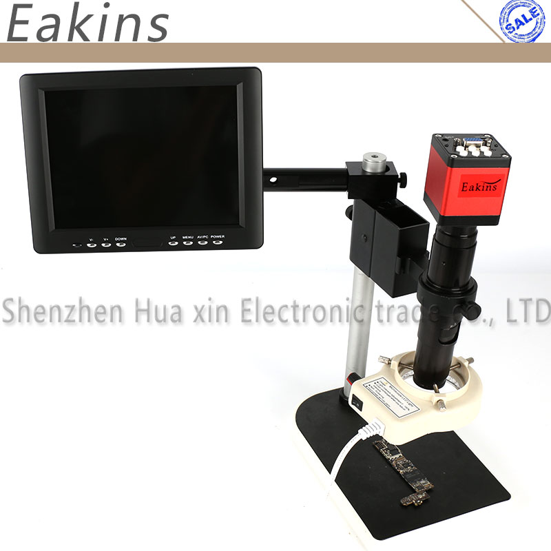 13MP HDMI VGA outputs Industry microscope Camera set 200X HD C-Mount Lens 56 LED Light 8 LCD Monitor