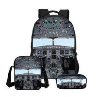 VEEVANV 3 PCS/SET Men Backpacks Children Shoulder Bag 3D Aircraft Cabin Printing Bookbag Canvas Backpack Boys School Bag Fashion