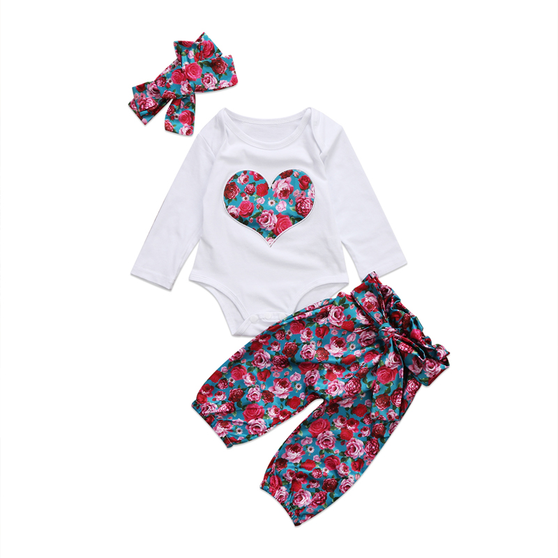 New Casual Cute Newborn Baby Girls Clothes Long Sleeve Tops Romper Headband Floral Pants 3Pcs Outfits Set Clothes 0-24M