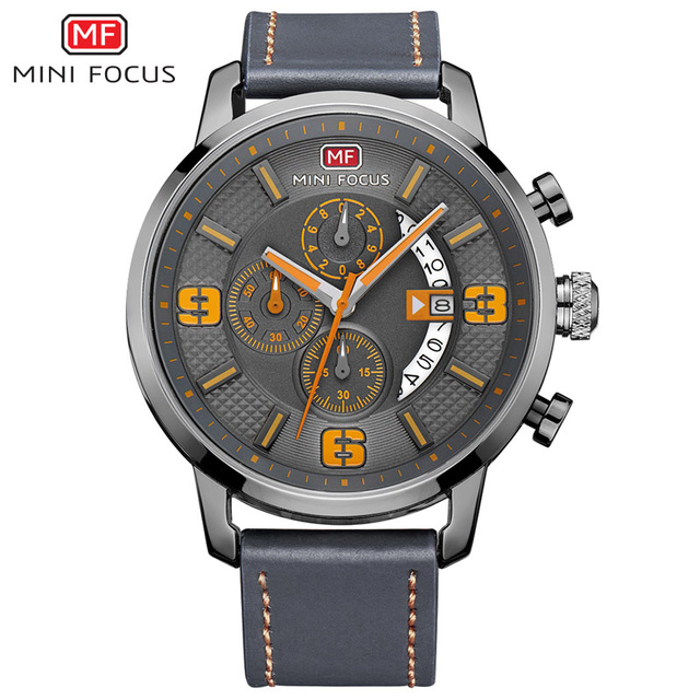 Top Brand Luxury Chronograph Quartz Watch Men Sports Watches Military Army Male Wrist Watch Clock MINI FOCUS relogio masculino sinobi sports chronograph men s wrist watches digital and quartz boys military diving watchband top luxury brand male clock 2016