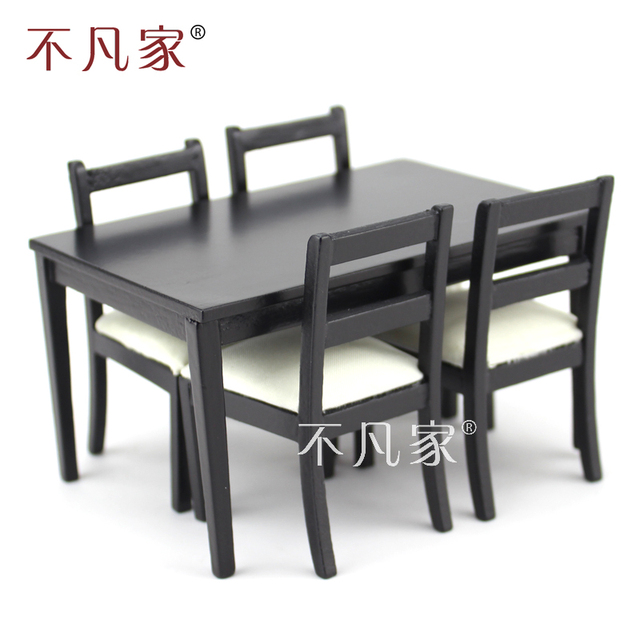 Dollhouses 1 12 Scale Miniature Furniture Black Dining Table And 4 Pcs Chairs