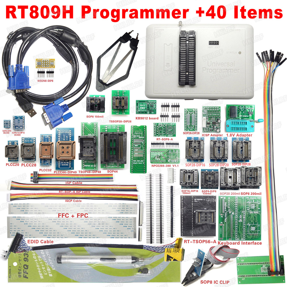 Image 2 - 2019 Newest RT809H Universal Programmer Emmc Nand Programmer + 44 Items ISP Adapter TSOP48 TSOP56 IC Test Clip EDID Read Line-in Integrated Circuits from Electronic Components & Supplies