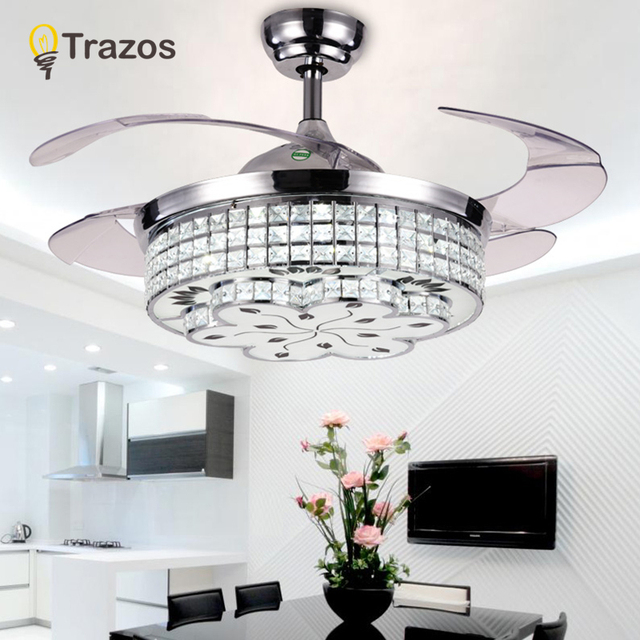 42inch Modern LED Crystal Chandelier Fan Light Living Room Bedroom  Retractable Folding Fan With Remote Control
