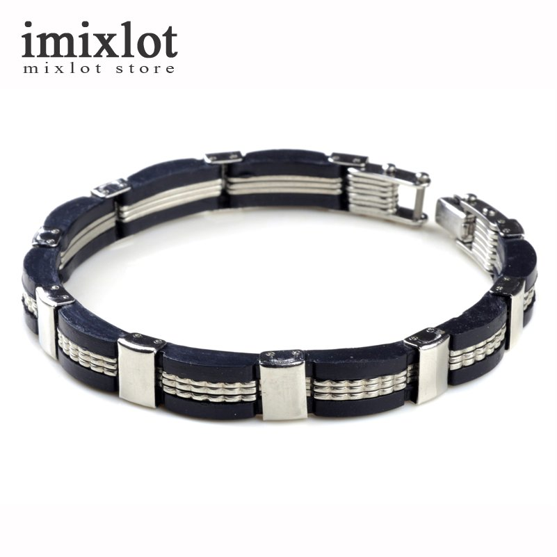 2017 Neue Modeschmuck Schwarz Silikon Mix Edelstahl Armbänder Heiße Persönlichkeit Männer Armband Männliche Armreifen Dauerhaft Im Einsatz